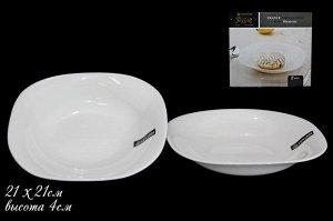 Набор Набор из 2х  глубоких тарелок 21см WHITE в под.уп.(х24)Опаловое стекло  Опаловое стекло