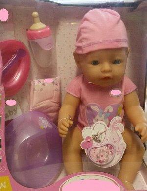 кукла Размер куклы 43 см.  Куклу можно кормить, купать, ходить на горшочек.  Коробка (упаковка) с трещиной Цена в магазине 5980 р
