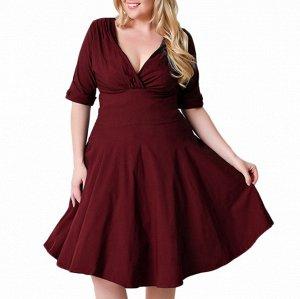 Платье с рукавом 1/2 цвет: КРАСНОЕ ВИНО