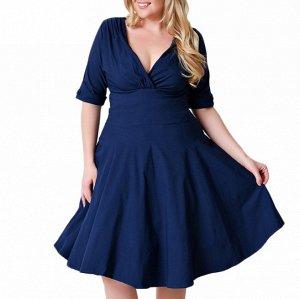 Платье с рукавом 1/2 цвет: ТЕМНО-СИНИЙ