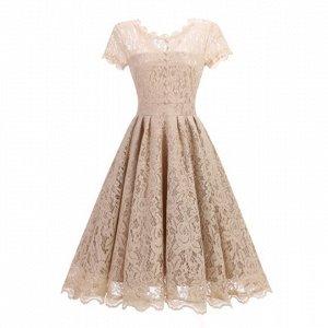 Платье с короткими рукавом цвет: КРЕМОВЫЙ