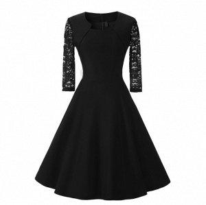 Платье с рукавом 1/2 цвет: ЧЕРНЫЙ