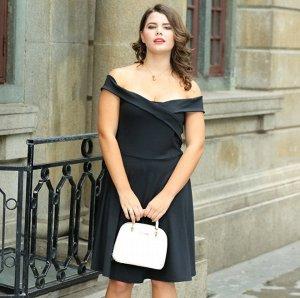 Платье с открытыми плечами с короткими рукавами цвет: ЧЕРНЫЙ