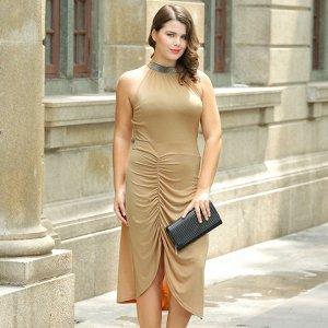 Платье без рукавов обтягивающее цвет: ХАКИ