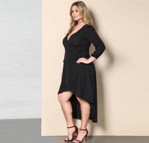 Платье с длинными рукавами с V-образным вырезом цвет: ЧЕРНЫЙ