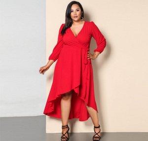 Платье с длинными рукавами с V-образным вырезом цвет: КРАСНЫЙ