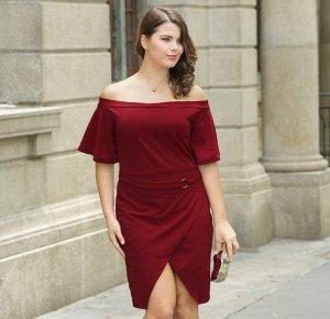 Платье с открытыми плечами с короткими рукавами цвет: КРАСНОЕ ВИНО