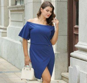 Платье с открытыми плечами с короткими рукавами цвет: СИНИЙ