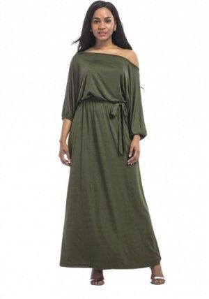 Платье длинное цвет: АРМЕЙСКИЙ ЗЕЛЕНЫЙ