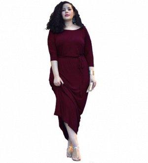 Платье длинное приталенное цвет: ФУКСИЯ