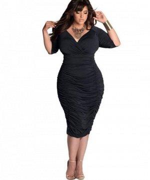 Платье с V-образным вырезом цвет: ЧЕРНЫЙ