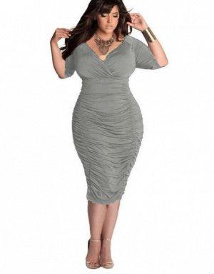 Платье с V-образным вырезом цвет: СЕРЫЙ