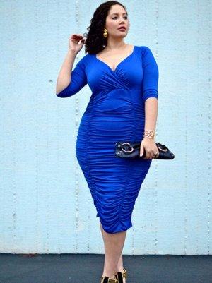 Платье с V-образным вырезом цвет: СИНИЙ