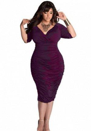 Платье с V-образным вырезом цвет: ФИОЛЕТОВЫЙ