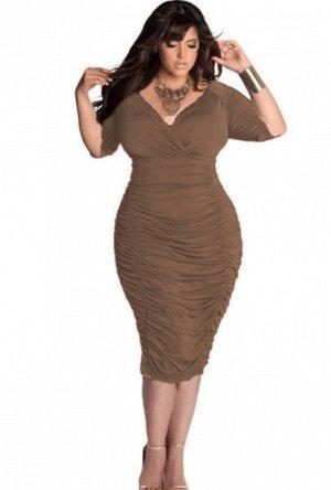 Платье с V-образным вырезом цвет: КОРИЧНЕВЫЙ