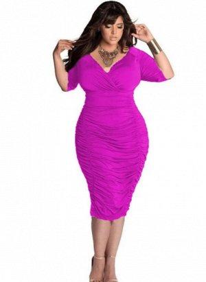 Платье с V-образным вырезом цвет: ЯРКО-РОЗОВЫЙ