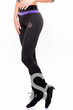 Черные эластичные спортивные брюки с широкой фиолетовой полосой