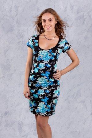 Платье 1025, синие цветы