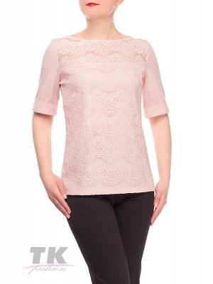 Блуза нежно розово-кремовая