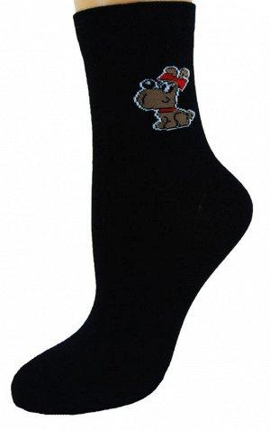 Носки женские зима 22-101/С собака черный