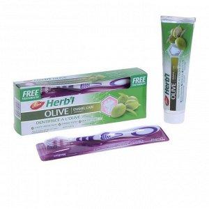 Паста зубная  HERB'L OLIVE (очищение и укрепление эмали) + зуб щёт ср. жест