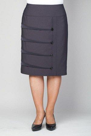 Юбка Модель:юбка текстильная прямого силуэта. Декор: декоративная отделка переда юбки втачными складками и пуговицами ,подрезная кокетка спереди. Особенности конструкции:обтачка,подкладка,застежка мо