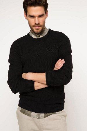 Свитер Akrilik 65% Cotton 15% Poliester 20% Длинный рукав для мужчин Свитер; Узкий крой; стандарный Рост; Круглый ворот; Черный цвет Круглый ворот Свитер;