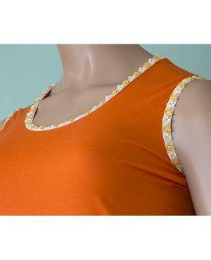 Майка Майка на широкой бретельки из высококачественного хлопка с отделкой оранжевые цветочки на белом, оранжевом и желтом фоне . Хлопок 100%. Цвет оранжевый