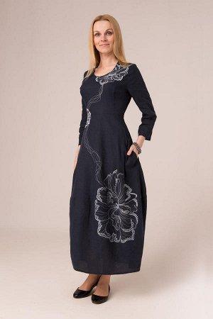 """Платье женское """"Звездочка"""" модель 303/1 темно-синее"""