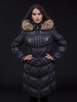 Пальто женское утеп. пух. CANDI (черный) енот натуральный р.L