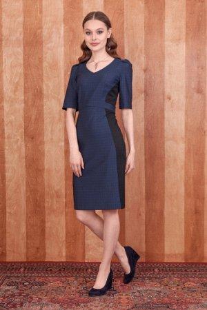 платье Платье прилегающего силуэта, отрезное по талии из костюмной ткани с узором. Детали: рукав полуреглан с защипами, треугольный вырез горловины, бочка выполнены из этой же ткани в другом цвете, шл