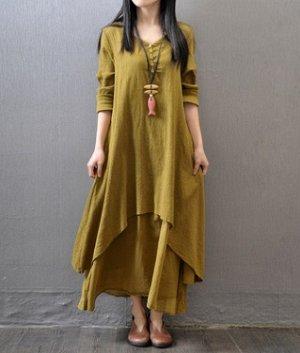 Платье свободного кроя с длинными рукавами цвет: ИМБИРЬ