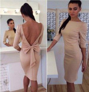 Платье приталенное с открытой спиной цвет: СВЕТЛО-РОЗОВЫЙ