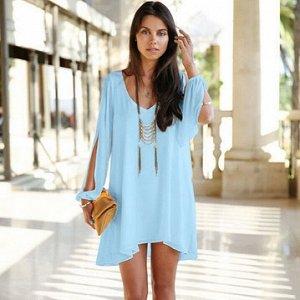 Платье свободного кроя цвет: ГОЛУБОЙ