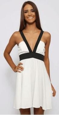Платье с открытыми плечами цвет: ЧЕРНО-БЕЛЫЙ