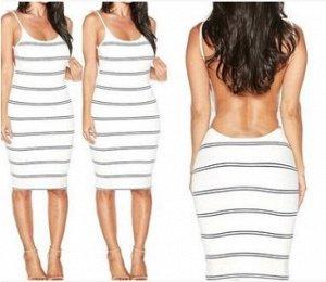 Платье приталенное с открытой спиной цвет: БЕЛЫЙ