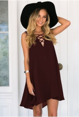 Платье свободного кроя без рукавов цвет: КОРИЧНЕВЫЙ