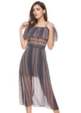 Платье с открытыми плечами цвет: СЕРЫЙ