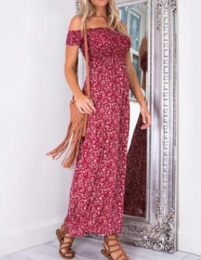 Платье с открытыми плечами цвет: КРАСНЫЙ