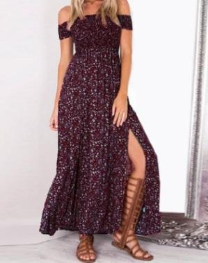 Платье с открытыми плечами цвет: БОРДОВЫЙ