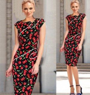 Платье приталенное без рукавов цвет: ЧЕРЕШНЯ