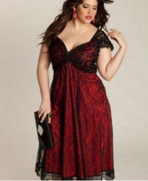 Платье с короткими рукавами и открытым декольте цвет: БОРДОВЫЙ