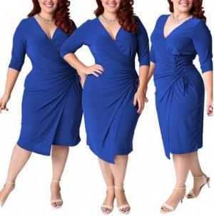 Платье приталенное средней длины цвет: СИНИЙ