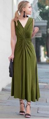 Платье приталенное без рукавов цвет: ЗЕЛЕНЫЙ