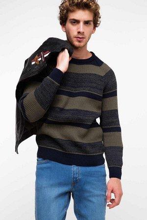 Свитер Cotton 65% Di?er Elyaf 5% Poliester 30% Длинный рукав для мужчин Свитер; Круглый ворот; Узкий крой; стандарный Рост;темно-синий цвет полосатый Свитер;