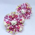 Детский бантик Акварель белый с розовыми цветами