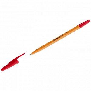 "Ручка шариковая Corvina ""51 Vintage"" красная, 1,0мм, желтый корпус"
