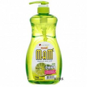 Средство для мытья посуды, овощей и фруктов Mam Lemon c дозатором 1 кг. Аромат Лайма