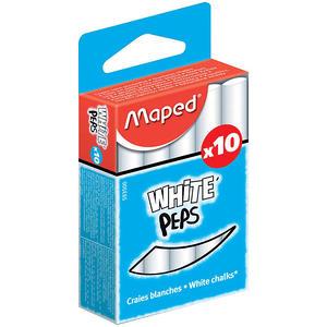 "Набор белого мела Maped ""White'peps"" круглый, формула ""без грязи"", 10шт."