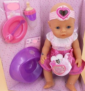 кукла Размер куклы 43 см.  Куклу можно кормить, купать, ходить на горшочек.  Цена в магазине 5980 р